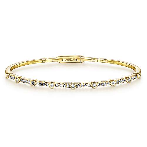 14K Yellow Gold Bezel Station Diamond Bangle