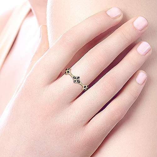 14K Yellow Gold Black Diamond Floral Station Stackable Ring