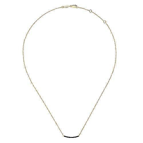 14K Yellow Gold Black Diamond Pavé Curved Bar Necklace