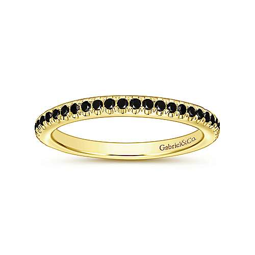 14K Yellow Gold Black Diamond Stackable Ring