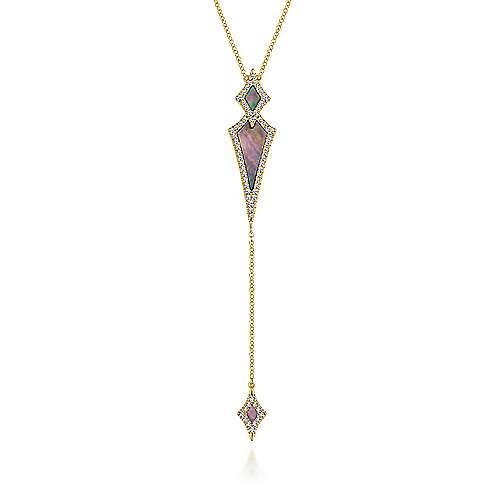 14K Yellow Gold Black Mother Of Pearl Y Knot Necklace