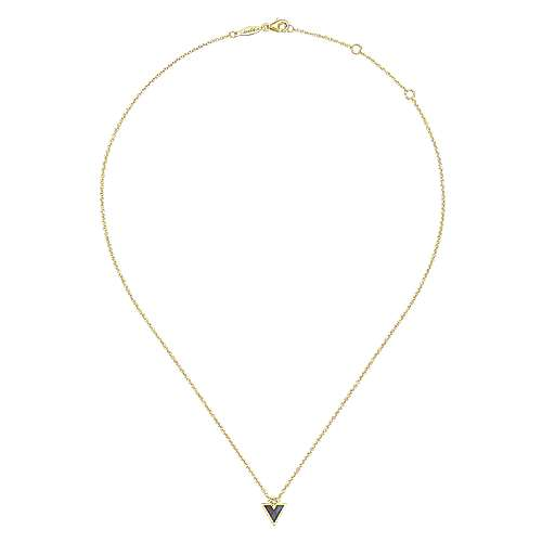 14K Yellow Gold Black Mother Of Pearl and Diamond Triangle Pendant Necklace
