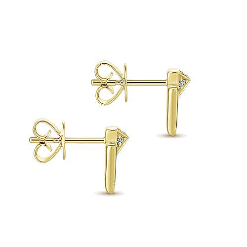 14K Yellow Gold Black Mother of Pearl and Diamond Chevron Post Earrings
