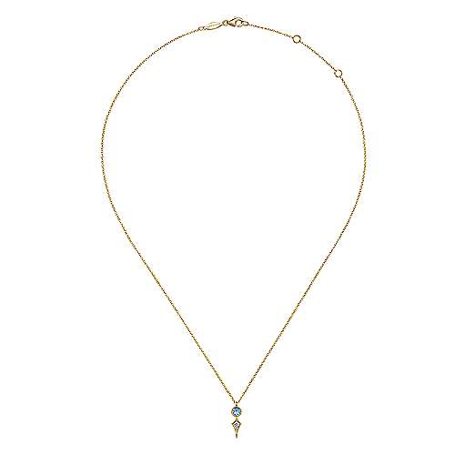 14K Yellow Gold Blue Topaz and Diamond Necklace