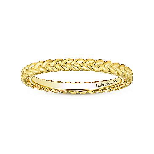 14K Yellow Gold Braided Eternity Stackable Ring