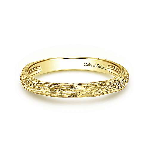 14K Yellow Gold Brushed Texture Stackable Ring