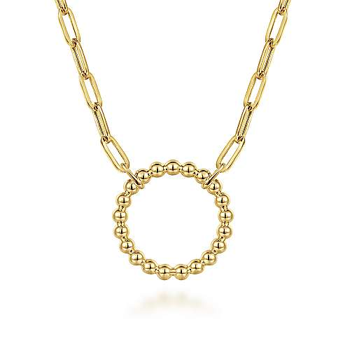 14K Yellow Gold Bujukan Ball Circle Necklace with Paperclip Chain