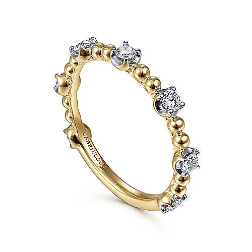 14K Yellow Gold Bujukan Ball and Diamond Cluster Station Ring