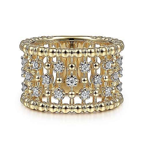 14K Yellow Gold Bujukan Ball and Diamond Statement Ring