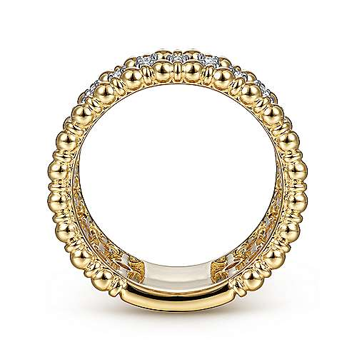 14K Yellow Gold Bujukan Ball and Diamond Statement Ring
