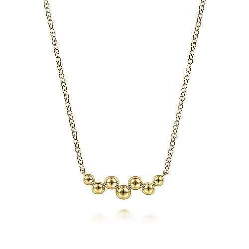14K Yellow Gold Bujukan Bead Bar Necklace