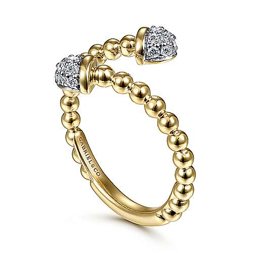 14K Yellow Gold Bujukan Bead Bypass Ring with Pavé Diamond Caps