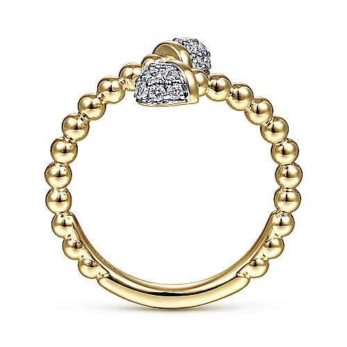 14K Yellow Gold Bujukan Bead Bypass Ring with Pave Diamond Caps