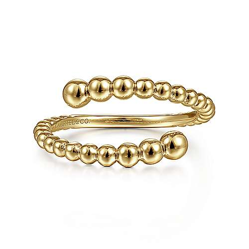 14K Yellow Gold Bujukan Bead Bypass Ring