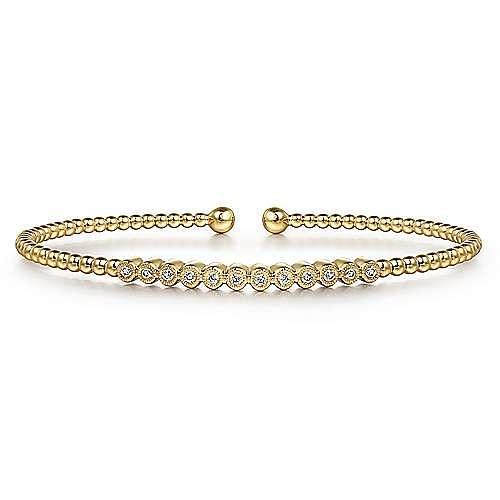 14K Yellow Gold Bujukan Bead Cuff Bracelet with Bezel Set Diamond Stations