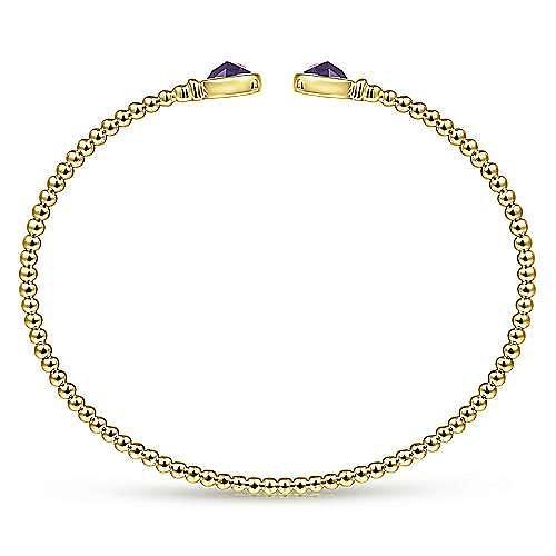 14K Yellow Gold Bujukan Bead Cuff Bracelet with Bezel Set Round Amethyst