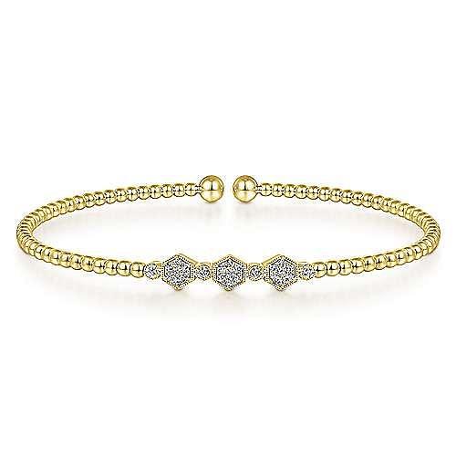 14K Yellow Gold Bujukan Bead Cuff Bracelet with Cluster Diamond Hexagon Stations