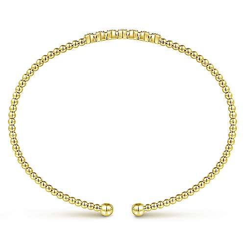 14K Yellow Gold Bujukan Bead Cuff Bracelet with Cluster Diamond Stations