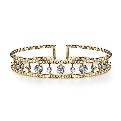 14K Yellow Gold Bujukan Bead Cuff Bracelet with Diamond Cluster and Bezel Connectors