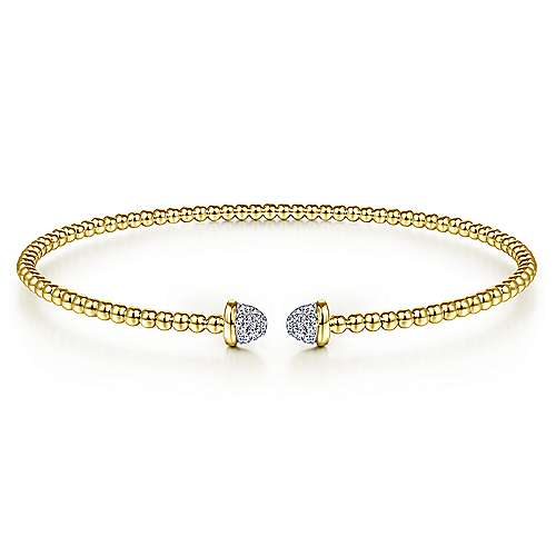 14K Yellow Gold Bujukan Bead Cuff Bracelet with Diamond Pavé Caps