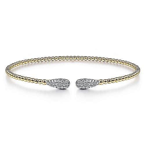 14K Yellow Gold Bujukan Bead Cuff Bracelet with Diamond Pavé Teardrops