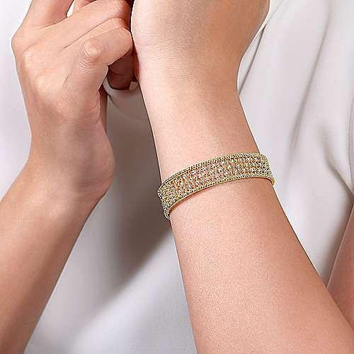 14K Yellow Gold Bujukan Bead Cuff Bracelet with Diamond Stations