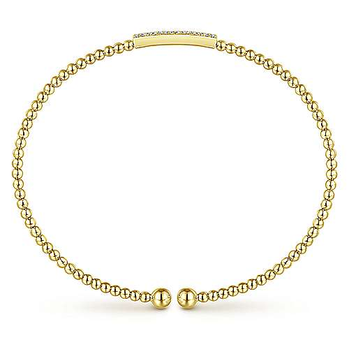 14K Yellow Gold Bujukan Bead Cuff Bracelet with Diamonds