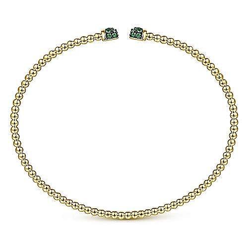 14K Yellow Gold Bujukan Bead Cuff Bracelet with Emerald Pavé Caps