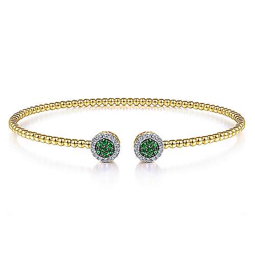 14K Yellow Gold Bujukan Bead Cuff Bracelet with Emerald and Diamond Halo Caps