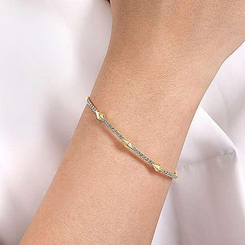 14K Yellow Gold Bujukan Bead Cuff Bracelet with Pyramid Stations