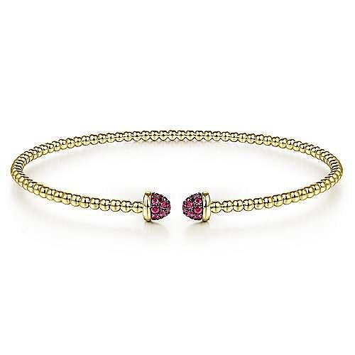 14K Yellow Gold Bujukan Bead Cuff Bracelet with Ruby Pavé Caps