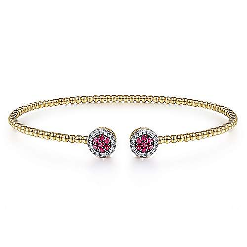 14K Yellow Gold Bujukan Bead Cuff Bracelet with Ruby and Diamond Halo Caps