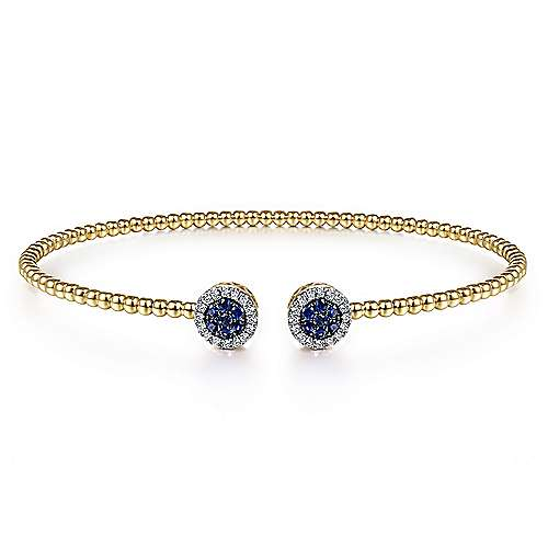 14K Yellow Gold Bujukan Bead Cuff Bracelet with Sapphire and Diamond Halo Caps