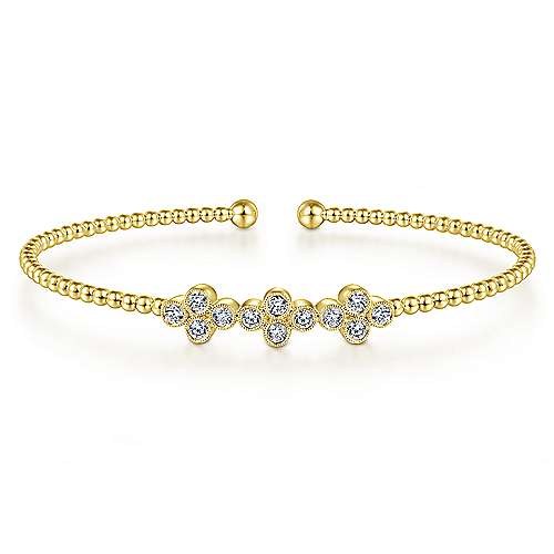 14K Yellow Gold Bujukan Bead Cuff Bracelet with Three Quatrefoil Diamond Stations