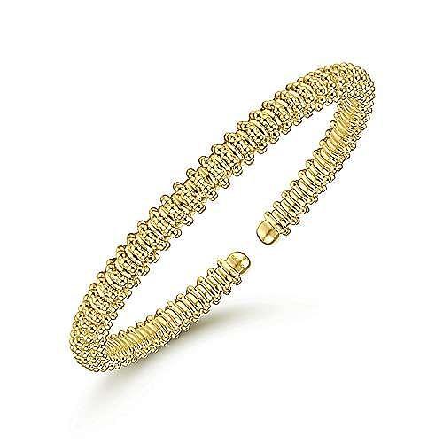 14K Yellow Gold Bujukan Bead Cuff Bracelet