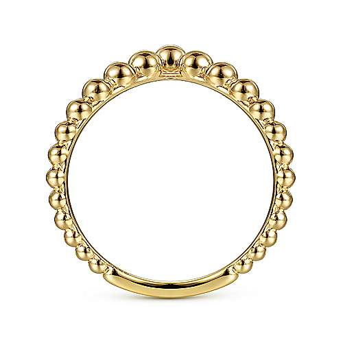 14K Yellow Gold Bujukan Bead Curved Ring