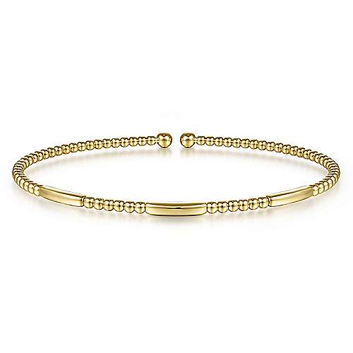 14K Yellow Gold Bujukan Bead Open Bangle
