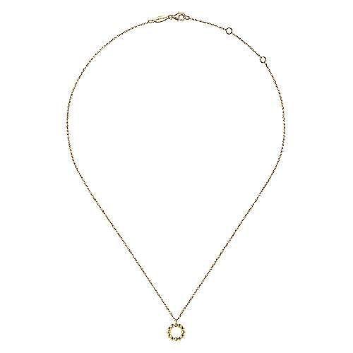 14K Yellow Gold Bujukan Bead Open Circle Pendant Necklace