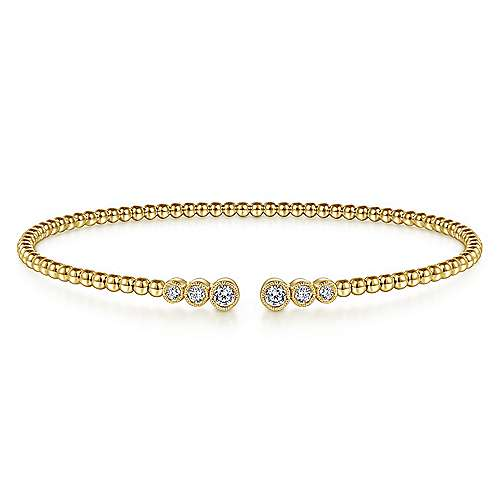 14K Yellow Gold Bujukan Bead Split Cuff Bracelet with Bezel Set Diamonds