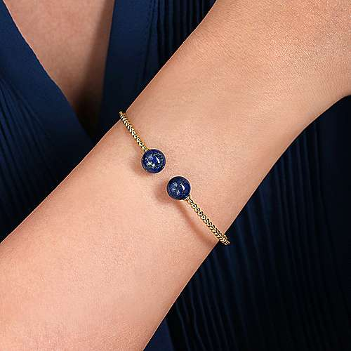 14K Yellow Gold Bujukan Bead Split Cuff Bracelet with Lapis Beads