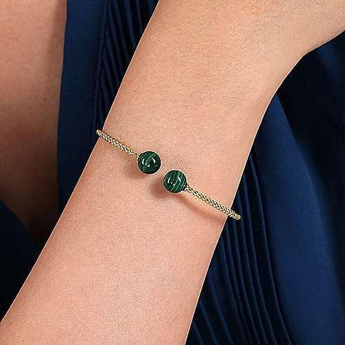 14K Yellow Gold Bujukan Bead Split Cuff Bracelet with Malachite Beads