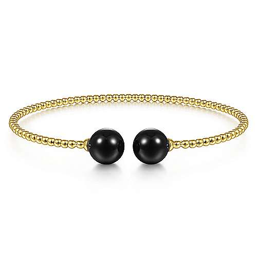 14K Yellow Gold Bujukan Bead Split Cuff Bracelet with Onyx Beads