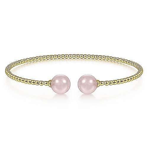 14K Yellow Gold Bujukan Bead Split Cuff Bracelet with Pink Quartz Beads
