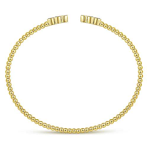 14K Yellow Gold Bujukan Bead Split Cuff Bracelet with Quatrefoil Diamond Endcaps