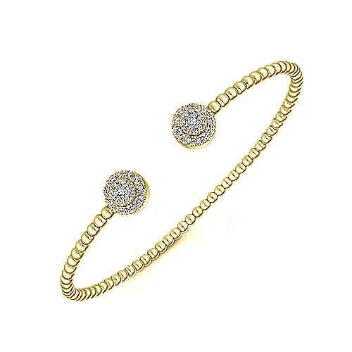 14K Yellow Gold Bujukan Bead Split Cuff Bracelet with Round Pavé Diamond Discs