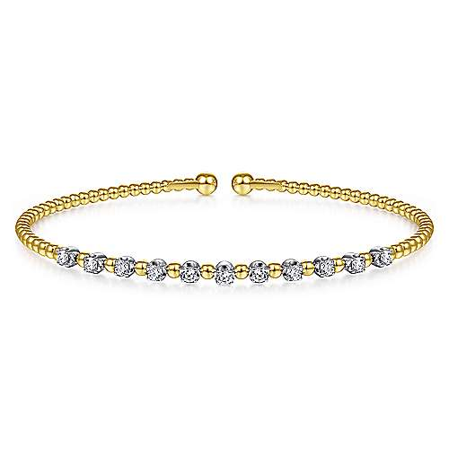 14K Yellow Gold Bujukan Bead Split Cuff Bracelet with Round White Gold Diamond Stations
