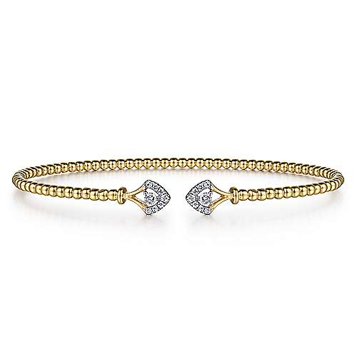 14K Yellow Gold Bujukan Bead Split Cuff with Diamonds