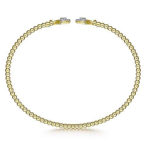 14K Yellow Gold Bujukan Bead Split Cuff with Diamonds