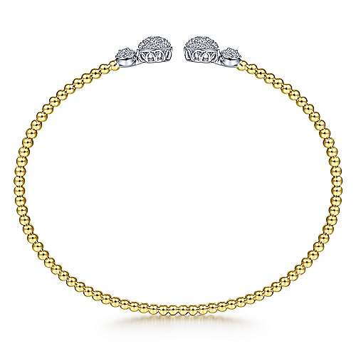 14K Yellow Gold Bujukan Bead Split Cuff with Round Diamond Pavé Caps
