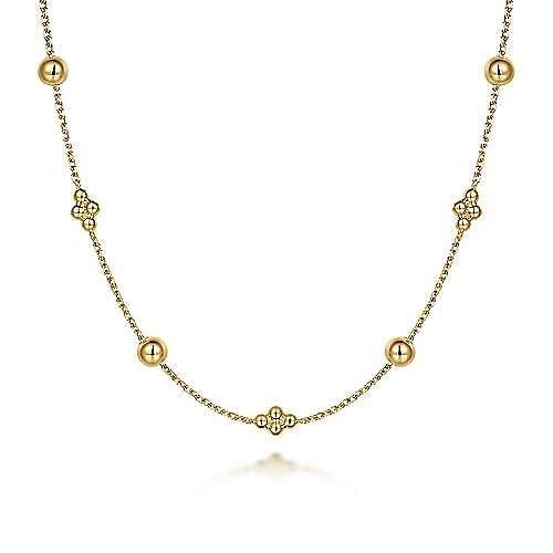14K Yellow Gold Bujukan Bead Station Necklace